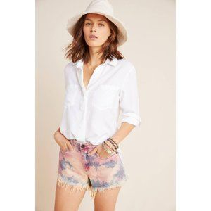 ANTHRO Callum High-Rise Tie-Dyed Denim Shorts